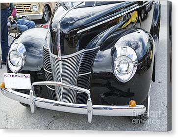 1940 Ford Classic Car Front Front End And Grill Photograph In Co Canvas Print by M K  Miller
