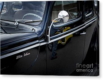 1940 Ford Classic Car  Side Door And Mirror Photograph In Color  Canvas Print