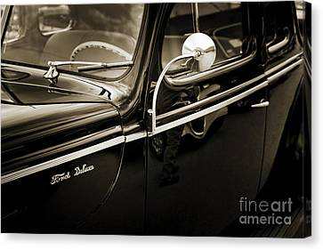 1940 Ford Classic Car  Side Door And Mirror Photograph In Sepia  Canvas Print