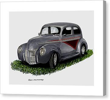 Custom Ford Canvas Print - 1940 Ford Custom Street Rod by Jack Pumphrey