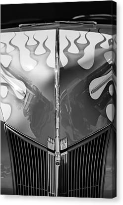 1940 Ford Hot Rod Flamed Hood -264bw Canvas Print by Jill Reger
