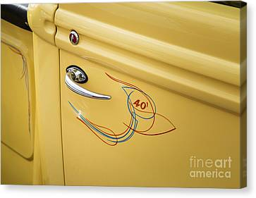 Pickup Truck Door Canvas Print - 1940 Ford Pickup Truck Door Handle Car Or Automobile In Color  3 by M K  Miller