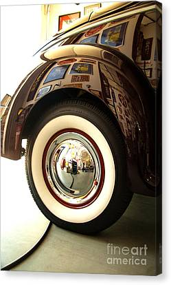 Canvas Print featuring the photograph Classic Maroon 1940 Ford Rear Fender And Wheel   by Jerry Cowart