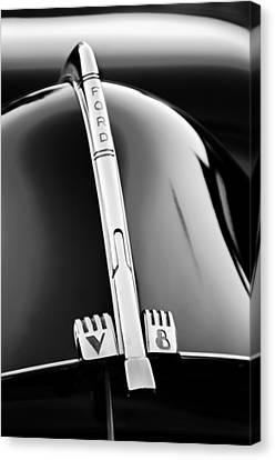 Ford V8 Canvas Print - 1940 Ford V8 Hood Ornament -323bw by Jill Reger