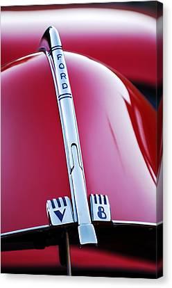 Ford V8 Canvas Print - 1940 Ford V8 Hood Ornament -323c by Jill Reger