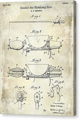 Trout Canvas Print - 1940 Handle For Fishing Pole Patent Drawing Blue by Jon Neidert