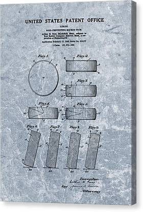 1940 Hockey Puck Patent Blue Canvas Print by Dan Sproul