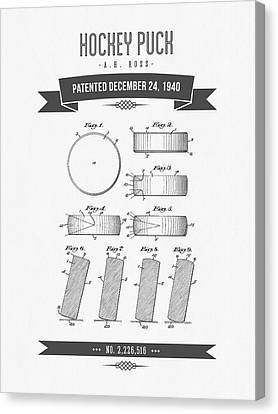 1940 Hockey Puck Patent Drawing - Retro Grey Canvas Print by Aged Pixel