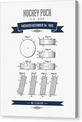 1940 Hockey Puck Patent Drawing - Retro Navy Blue Canvas Print by Aged Pixel