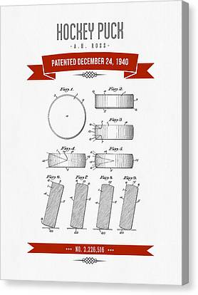 1940 Hockey Puck Patent Drawing - Retro Red Canvas Print by Aged Pixel