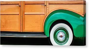 1940 Packard 120 Woody Station Wagon Wheel Emblem Canvas Print by Jill Reger
