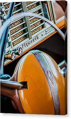1940 Plymouth Deluxe Woody Wagon Steering Wheel Emblem -0116c Canvas Print by Jill Reger