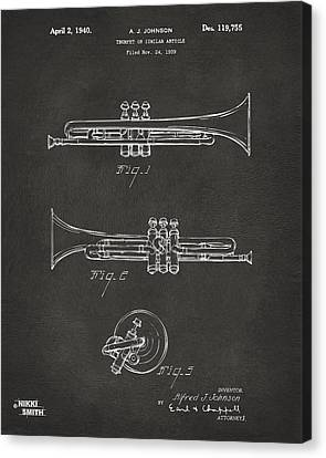 1940 Trumpet Patent Artwork - Gray Canvas Print by Nikki Marie Smith