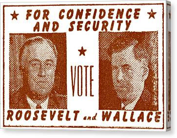 1940 Vote Roosevelt And Wallace Canvas Print by Historic Image