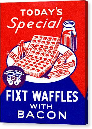 1940 Waffles With Bacon Canvas Print by Historic Image