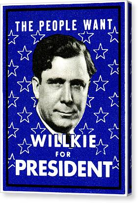 1940 Willkie For President Canvas Print by Historic Image
