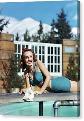 Diving Board Canvas Print - 1940s 1950s Smiling Woman Wearing Two by Vintage Images
