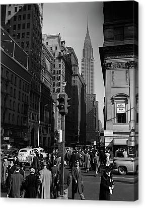 Crosswalks Canvas Print - 1940s Anonymous Pedestrian Crowd Taxis by Vintage Images