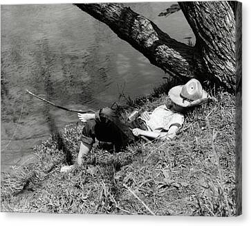 Tom Boy Canvas Print - 1940s Barefoot Boy Sleeping Under Tree by Vintage Images