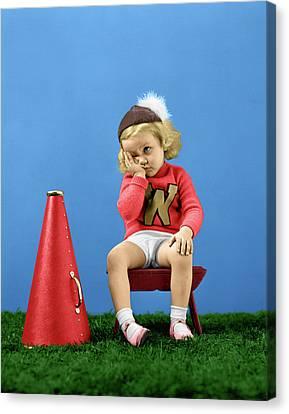 Cheerleaders Canvas Print - 1940s Cheerleader Wearing Cap Varisty by Vintage Images