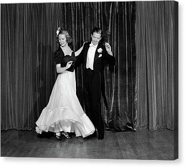 Black Tie Canvas Print - 1940s Couple Man And Woman In Formal by Vintage Images