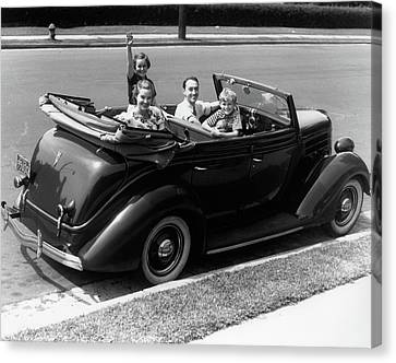 Pleasure Driving Canvas Print - 1940s Family Of Four In Convertible by Vintage Images