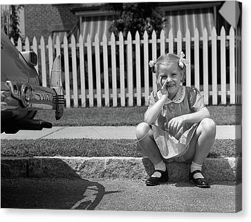 Tomboy Canvas Print - 1940s Girl Sitting On Curb With Tooth by Vintage Images