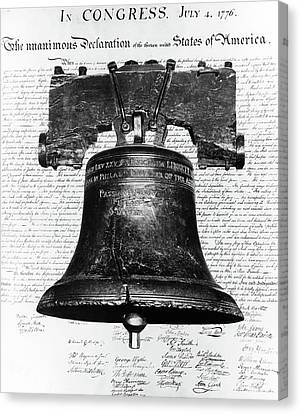 Indoor Still Life Canvas Print - 1940s Liberty Bell Superimposed by Vintage Images