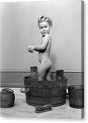 Wash Tubs Canvas Print - 1940s Little Blond Girl Standing by Vintage Images