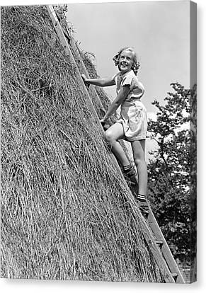 Tomboy Canvas Print - 1940s Smiling Blond Girl Looking by Vintage Images