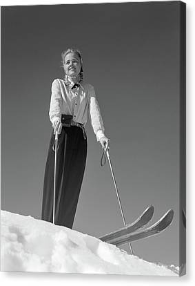 Observer Canvas Print - 1940s Smiling Blond Woman Skier Poised by Vintage Images
