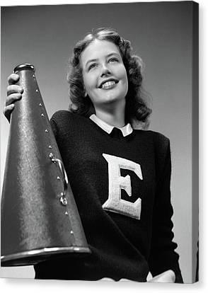 Cheerleaders Canvas Print - 1940s Smiling Girl Wearing A Varsity by Vintage Images