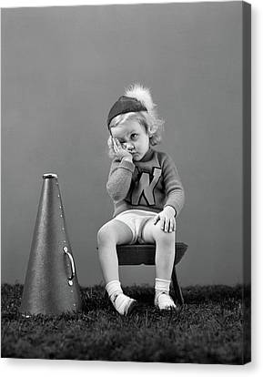 Cheerleaders Canvas Print - 1940s Unhappy Little Girl Cheerleader by Vintage Images