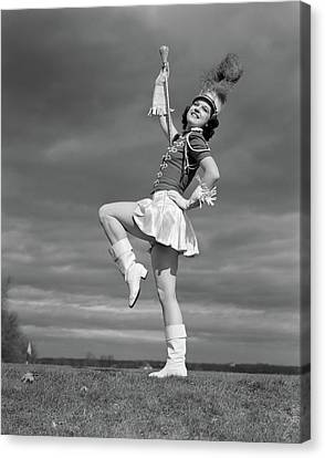 Full Skirt Canvas Print - 1940s Woman Drum Major In Majorette by Vintage Images
