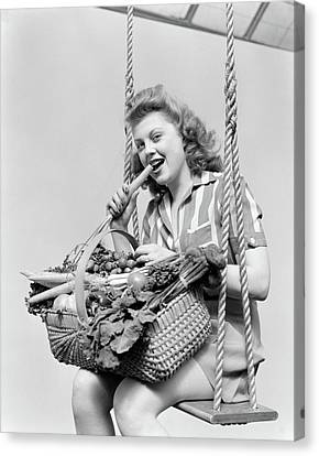 Half-length Canvas Print - 1940s Woman Sitting On A Rope Swing by Vintage Images