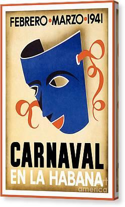 Nostalgia Canvas Print - 1941 Carnaval Vintage Travel Poster by Jon Neidert