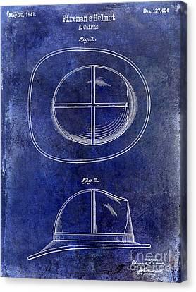 1941 Firemans Helmet Patent Drawing Blue Canvas Print by Jon Neidert