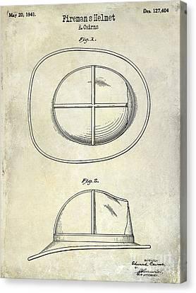 1941 Firemans Helmet Patent Drawing  Canvas Print by Jon Neidert