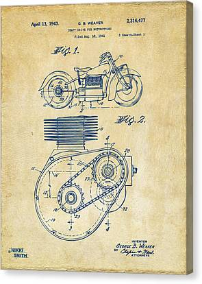 1941 Indian Motorcycle Patent Artwork - Vintage Canvas Print by Nikki Marie Smith