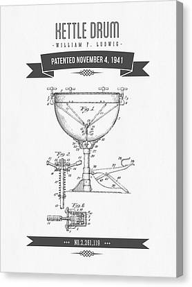 1941 Kettle Drum Patent Drawing Canvas Print by Aged Pixel