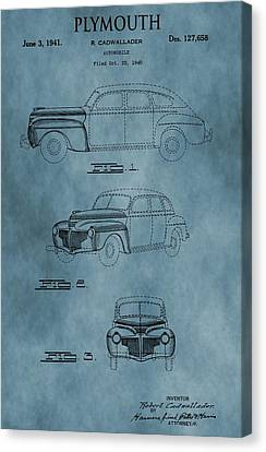 1941 Plymouth Patent Blue Canvas Print by Dan Sproul