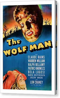1941 The Wolf Man Vintage Movie Art Canvas Print by Presented By American Classic Art