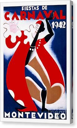 Nostalgia Canvas Print - 1942 Carnaval Vintage Travel Poster by Jon Neidert