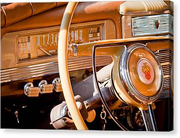 1942 Packard Darrin Convertible Victoria Steering Wheel Canvas Print by Jill Reger
