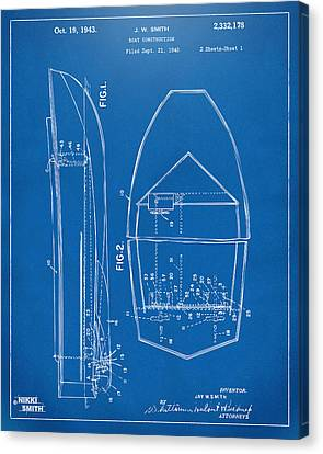 1943 Chris Craft Boat Patent Blueprint Canvas Print by Nikki Marie Smith