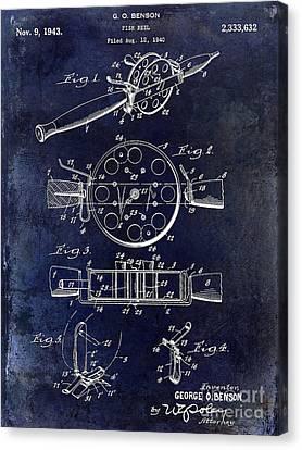 1943 Fishing Reel Patent Drawing Blue Canvas Print