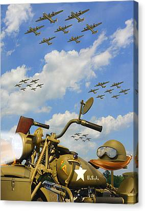 1943 Harley Wfc With B - 24 Liberators 2c Canvas Print by Mike McGlothlen