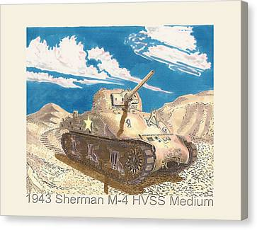 Infantryman Canvas Print - 1943 Sherman M 4 Medium Taqnk by Jack Pumphrey