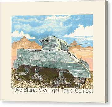 Infantryman Canvas Print - 1943 Stuart M-5 Light Tank Combat by Jack Pumphrey