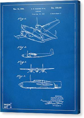 Vintage Air Planes Canvas Print - 1944 Howard Hughes Airplane Patent Artwork 2 Blueprint by Nikki Marie Smith